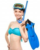 Young happy woman with snorkel equipment, isolated over white