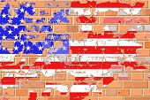 A United States Flag on an Old Grunge Brick Wall