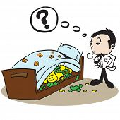 man saving money under bed cartoon illustration
