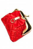 red silk purse on a white background