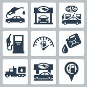 stock photo of tank truck  - Vector gas station icons set over white - JPG