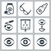 picture of snellen chart  - Vector isolated optometry icons set over white - JPG