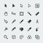 stock photo of pencil eraser  - Vector graphic editor mini icons set on grey background - JPG