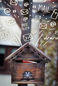 pic of postbox  - Postbox with white hand drawn mail icons - JPG