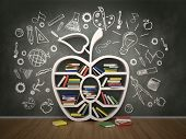 foto of academia  - book shelf in form of apple and drawing concept - JPG