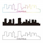 Columbus Skyline Linear Style With Rainbow