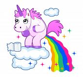 stock photo of poop  - Smiling unicorn pooping a rainbow on the sky - JPG