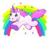 picture of unicorn  - Running cartoon unicorn against the rainbow - JPG