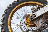 Closeup Fragment Of Rear Sport Motocross Bike Wheel
