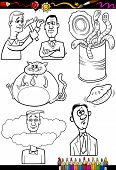 Cartoon Sayings Set For Coloring Book