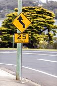 stock photo of beep  - Road sign of the maximum speed limitation in the urban zone - JPG