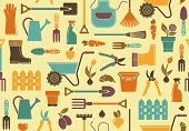 picture of clippers  - Seamless background of garden tools - JPG