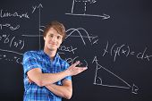 Mathematics, physics, chemistry-student at the blackboard