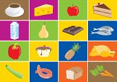Colorful Food Icons With Meals Isolated