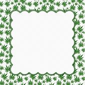 stock photo of marijuana leaf  - Marijuana Leaves Frame with Embroidery Background with center for copy - JPG