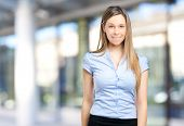 Smiling young business woman portrait outdoor