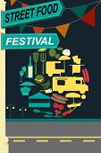 image of pamphlet  - A vector illustration of street food festival pamphlet design - JPG