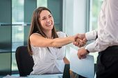 Happy business woman shaking hands with colleague