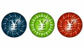 foto of yen  - set of three colored icons with yen sign - JPG
