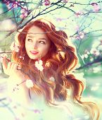 stock photo of hair blowing  - Spring beauty girl with long red blowing hair outdoors - JPG