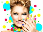 pic of nail-design  - Beauty Girl Portrait with Colorful Makeup - JPG
