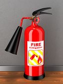 image of firehose  - Red extinguisher with label  in room - JPG