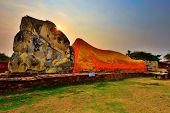 stock photo of recliner  - The Reclining Buddha in Old Capital of Thailand - JPG