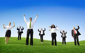 Multi-Ethnic Business People Arms Raised Outdoors