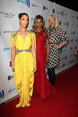 LOS ANGELES - APR 12:  Carmen Carrera, Laverne Cox, Our Lady J at the GLAAD Media Awards at Beverly