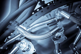 foto of mechanical engineer  - hydraulic pipes used in the aviation industry - JPG