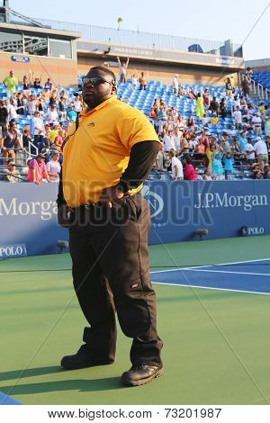 Unidentified security guard providing security at Billie Jean King National Tennis Center