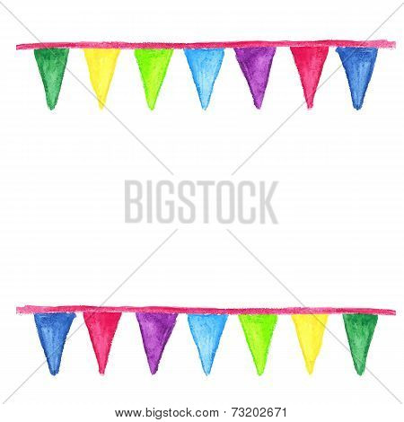 Watercolor party bunting isolated on white background