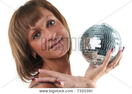 Portrate Of Young Woman With Glass Sphere