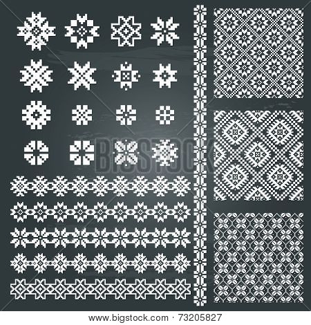 Borders and decoration elements patterns huge set in white color isolated on chalkboard background