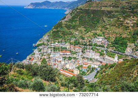 Traditional Mediterranean Architecture Of Riomaggiore, La Spezia, Liguria, Italy