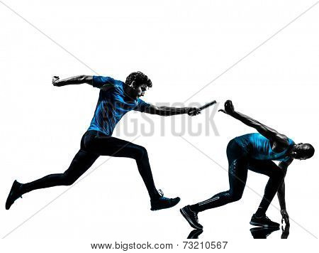 two men relay running sprinting in silhouette studio isolated on white background