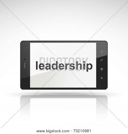 Leadership Word On Mobile Phone