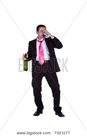 Drunk Businessman Holding A Wine Bottle