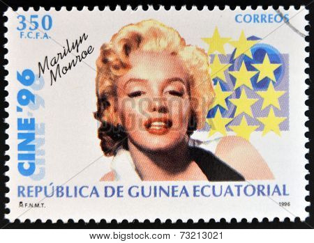 EQUATORIAL GUINEA - CIRCA 1996: A Stamp printed in Guinea dedicated to cinema shows Marilyn Monroe