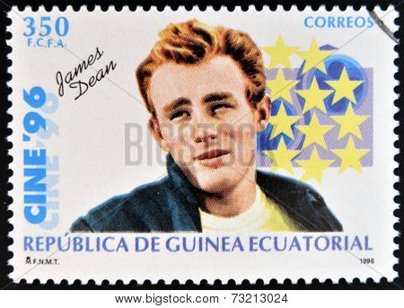 EQUATORIAL GUINEA - CIRCA 1996: A Stamp printed in Guinea dedicated to cinema shows James Dean