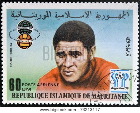 ISLAMIC REPUBLIC OF MAURITANIA - CIRCA 1977: A stamp printed in Mauritania devoted World Cup Soccer