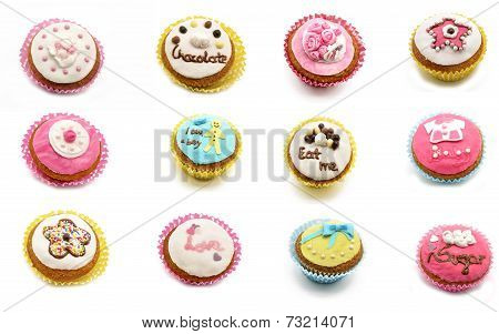 Mural of cupcakes on a white background