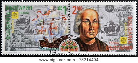 BULGARIA - CIRCA 1992: A stamp printed in Bulgaria shows the frigate ship of Christopher Columbus