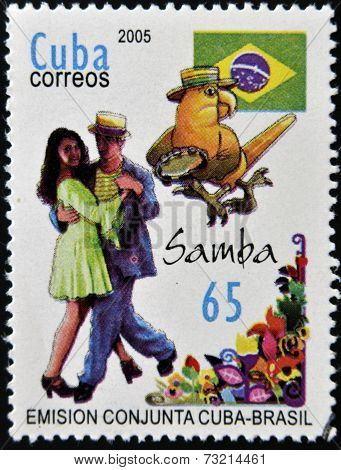 CUBA - CIRCA 2005: A stamp printed in Cuba shows son dance Cuba Brazil joint issue circa 2005