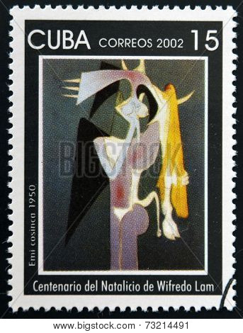 CUBA - CIRCA 2002: A stamp printed in cuba shows Emi cosinca by Wifredo Lam circa 2002