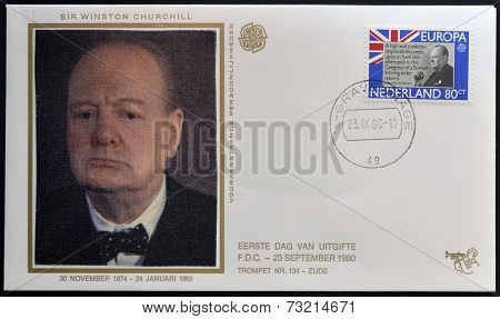 HOLLAND - CIRCA 1980: A stamp printed in Netherlands shows Sir Winston Churchill circa 1980