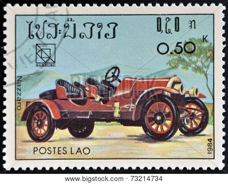LAOS - CIRCA 1984: A stamp printed in Laos shows retro car Nazzaro circa 1984.