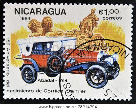 NICARAGUA - CIRCA 1984: A stamp printed in Nicaragua shows retro car Abadal 1914 circa 1984