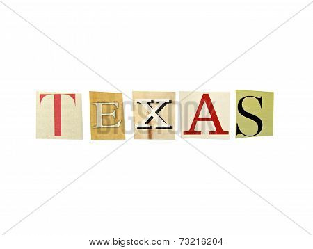 Texas word formed with magazine letters on a white background