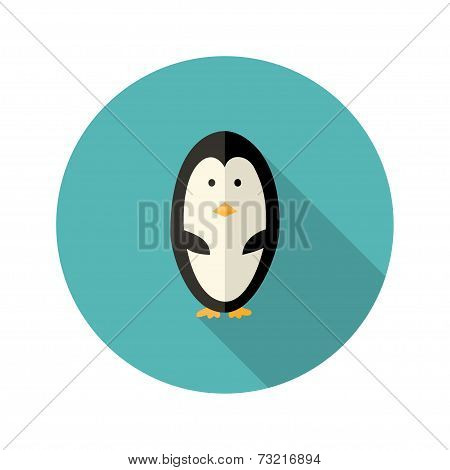 Penguin Flat Icon Over Blue